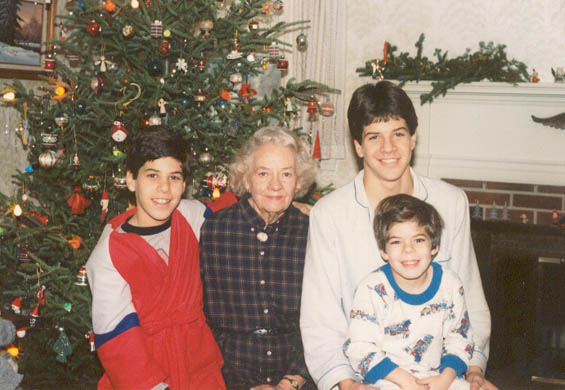 Peter, Gram, Vandy, and Chris on Christmas 1986