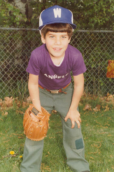 Peter in his baseball uniform in 1982