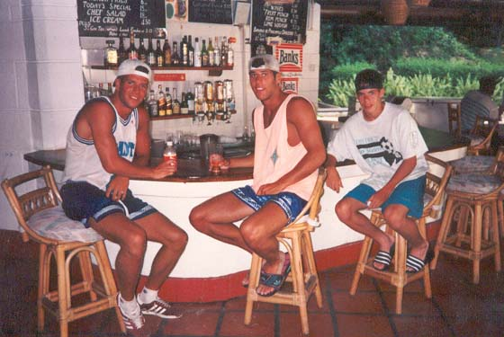 Vandy, Peter, and Chris at a bar in Barbados