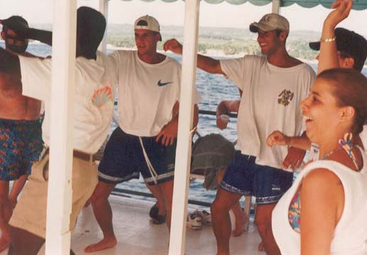 Vandy, Peter, and Dad dancing in Barbados
