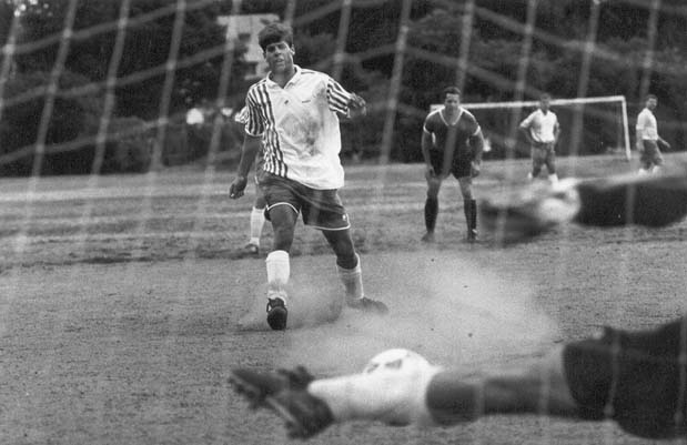 Pete scoring for Winchester FC in 1993